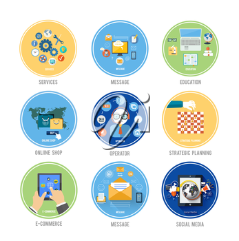 Set for web and mobile applications of office work, social media, support, services, message, education, online shop, e-comerce and stratesic planning of marketing concepts items icons in flat design