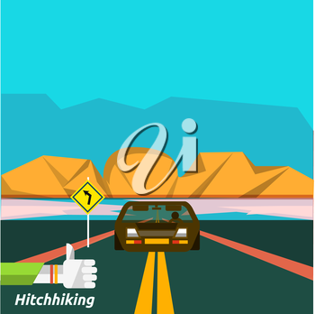 Hitchhiking tourism. Icons of traveling, planning a summer vacation, tourism and journey objects and passenger luggage in flat design. Business travel concept