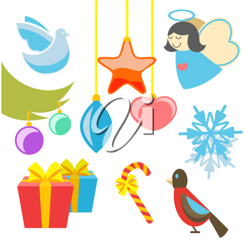 Christmas retro icons, elements and illustrations of angel tree star dove bird gift