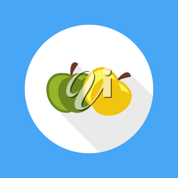 Apple icon with shadow in flat design