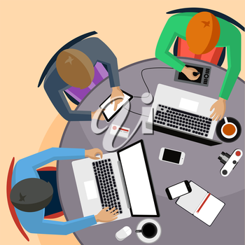 Office teamwork workers business management meeting and brainstorming on round table in top view flat design cartoon style