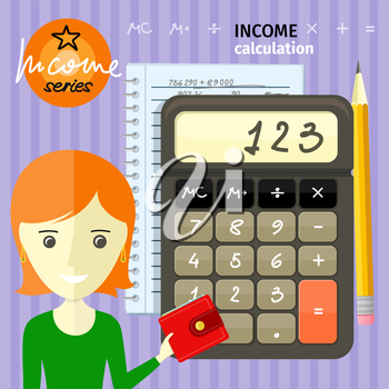 Income calculation concept. Savings, finances, economy in home concept close up of woman with purse near calculator counting money and making notes cartoon design style