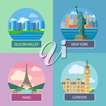 Big Ben and Westminster Bridge, London, UK. Office building in Silicon Valley. Statue of Liberty, New York City. Eiffel tower, Paris. France. Posters concept in cartoon style with text