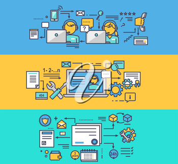 Call center and technical support. Guarantee maintenance consultant and feedback, consultation and help communication, helpline assistance illustration. Set of thin, lines, outline flat icons