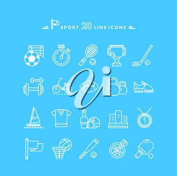 Set of white sport thin, lines, outline icons in flat design on blue background. Hockey, bat, stick, racket, tennis, baseball, tennis ball, ping pong silhouettes. For website and mobile applications