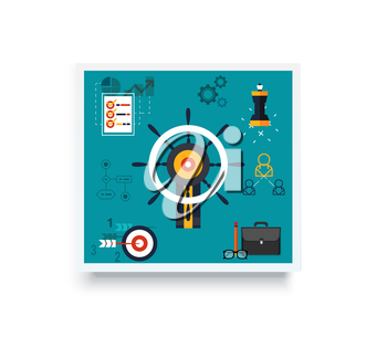 Icons for management, business tools in flat design. Poster banner on white. Management and marketing, lead and manage, effective management, leadership, business, management icon, business management