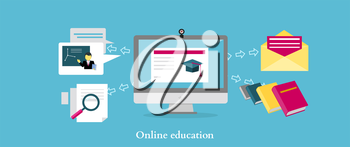 Online education icon flat design style. University web, school knowledge, training study, e-learning computer internet, science studying, research information illustration