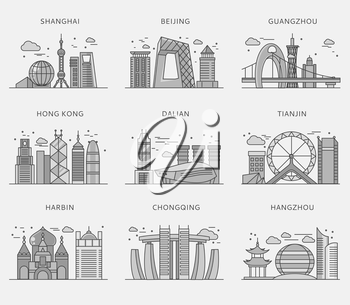 Icons Chinese major cities flat style. Shanghai and china, Beijing and Guangzhou, Hong Kong and Dalian, Tianjin and Harbin, Chongqing and Hangzhou illustration. White black