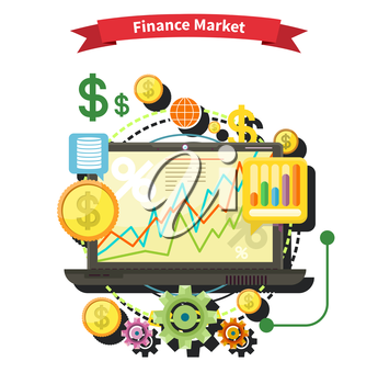 Financial diagram on a laptop monitor. News from finance market. Business stock exchange. Financial planning, accounting, corporate financial strategy. Price movement. Stock exchange rates flat design