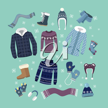 Set of warm winter clothes design. Scarf and winter fashion, winter hat, winter coat, cloth and hat, jacket and glove, coat and boot, outerwear seasonal illustration