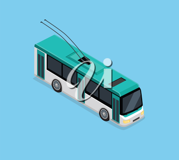 Flat 3d isometric high quality electric trolleybus. Isometric city transport icon. Vector trolleybus. Isometric trolleybus icon. Isolated trolleybus. Low floor articulated city trolleybus