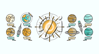 Solar system icon flat design. Earth planet space and sun, science astronomy, galaxy and saturn, jupiter and venus, mars and mercury, uranus and neptune vector. Solar system showing planets around sun