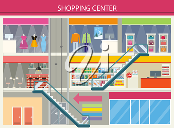 Shopping center storefronts design. Large shopping center with clothing stores and trendy bags on the second floor. Downstairs grocery supermarket with food cashier for payment Vector illustration