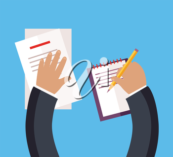 Documentation concept top view design flat style. Busy businessman works with papers, documents with a pencil in his hand. Pisat on a white sheet of paper or to sign a contract. Vector illustration