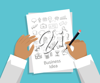 Business idea. Set of icon hand draw flat style. Man with a pencil in his hand draws icons on the business concept on a paper sheet of white paper. Sketch drawing idea design. Vector illustration
