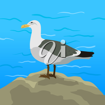 Gull vector. Sea bird wildlife in flat style design. Illustration for prints, vacation advertising, childrens books illustrating. Beautiful Seagull bird seating on seacost.