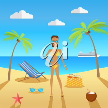 Beach with sand and palm trees in shiny day. Woman in sunglasses next to the sunbed, bag and a cocktail in coconut. Summer vacation concept. Vector illustration