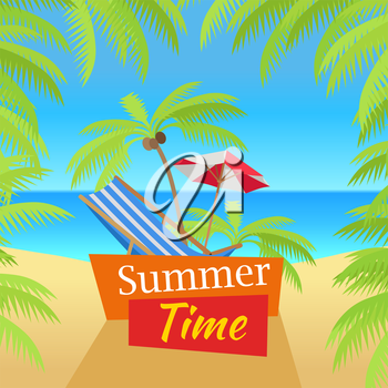 Summer time vacation concept banner. Flat style design vector. Leisure on tropical sunny beach with palm trees. Beach chair, umbrella and palm with ocean on background illustration.