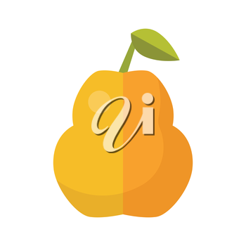 Pear vector in flat style design. Fruit illustration for conceptual banners, icons, mobile app pictogram, infographic, and logotype element. Isolated on white background.