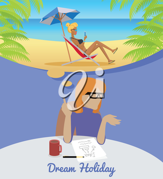 Dream Holiday. Woman sitting on chair dreaming about rest. Girl on beach in her dreams. Women at work. Endless work seven days a week. Working moments. Part of series of work at the office. Vector