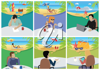 Dream Holiday. Woman and man sitting on chair with gadget and dreaming about rest. Person at work. Endless work seven days a week. Working moments. Part of series of work at the office. Vector