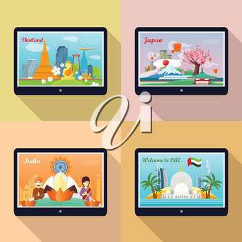 Set of traveling advertisement banners. Welcome to Japan, Thailand, India, United Arab Emirates. Landmarks of the well known asian places of interest on your tablet display. Vector illustration