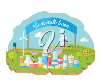 Goat milk farm concept vector flat design. Organic farming, traditional products. Set of dairy products in different glass, plastic, paper packing, animals, wind turbine, field, garden, banner behind