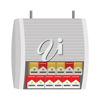 Shelve with cigarettes packs vector illustration. Flat style. Box with protective shutters in grocery store.