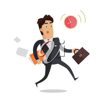 Being late to meetings vector concept. Flat design. Worried businessman with briefcase and documents hurries to appointed time. Punctuality and stress at work. For business concept. Isolated on white
