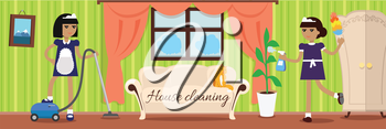 House cleaning banner. Two girls in uniform make cleaning in house. Cleaning service, clean house, house cleaning service, housework, home cleaning, domestic cleaning service, clean room illustration