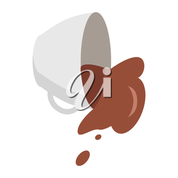Fallen white coffee cup with spilled coffee in flat. Coffee spill icon. Coffee stain. Isolated object in flat design on white background. Vector illustration.