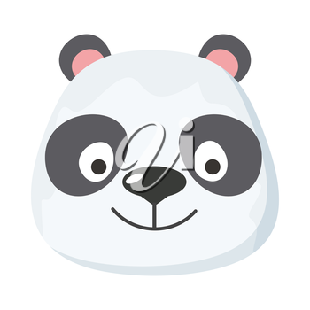 Panda face vector. Flat design. Animal head cartoon icon. Illustration for nature concepts, children s books illustrating, printing materials, web. Funny mask or avatar. Isolated on white background