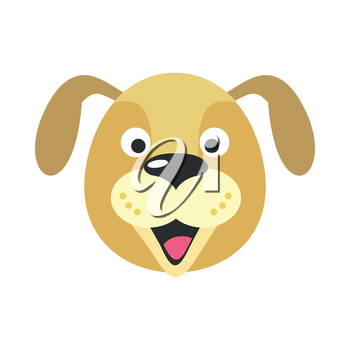 Dog face vector. Flat design. Animal head cartoon icon. Illustration for nature concepts, children s books illustrating, printing materials, web. Funny mask or avatar. Isolated on white background