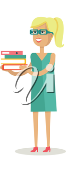Office worker character vector. Flat design. Young smiling blonde woman in glasses standing and holding stuck of documents. Paper work, data analyzing Illustration for business concepts, infographics.