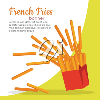 French fries banner. Crispy potatoes in red paper bag. Junk unhealthy food. Consumption of high calories nourishment fast food. Part of series of promotion healthy diet and good fit. Vector