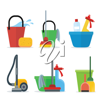 Set of Cleaning Equipment bucket, mop, sponge, rag, detergent, vacuum cleaner, shovel. House cleaning service, professional office cleaning, domestic cleaning service illustration Icon set in flat