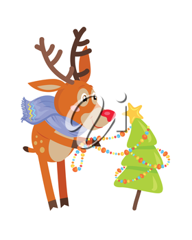 Deer in blue scarf decorating christmas tree isolated. Funny reindeer prepares for the New Year Eve. Cute mammal character decorates fir tree with garland in flat style. Vector design illustration