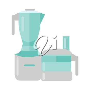 Food processor isolated illustration white background. Electric mixer. Plastic electronic blender. Kitchen household appliance used to facilitate repetitive tasks in preparation of food. Vector