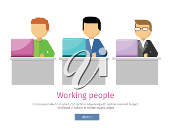 Working people web banner. Man work with laptop and analyze website in flat design style. Developing solution, software development or construction. Search of innovations. Vector illustration