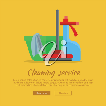 Cleaning service web banner. Basin with duster, broom and glass cleaner icon. Signs of clean in house. House washing equipment. Office and hotel cleaning. Housekeeping. Cleaning concept. Vector