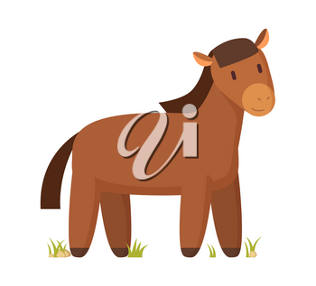 Brown horse happy cartoon character vector illustration isolated on white for book or magazine. Domestic farm animal colorful informative poster.
