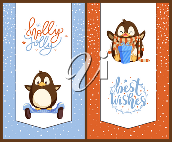 Penguin on gyroscooter and with Christmas gift box. Bird on modern transport and animal in scarf and mittens, New Year present, winter holidays vector