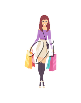 Female lady walking with bags and handbag on shoulder vector. Shopper with bought items, happy woman shopping day and purchases placed in containers