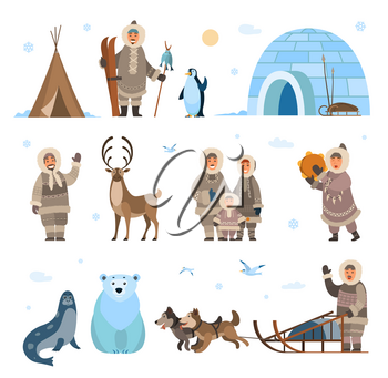 Arctic expeditions and discoveries North pole vector. Animals penguin and bear grizzly, husky and dogs with sledges, inuits and huts snowflakes snowfall