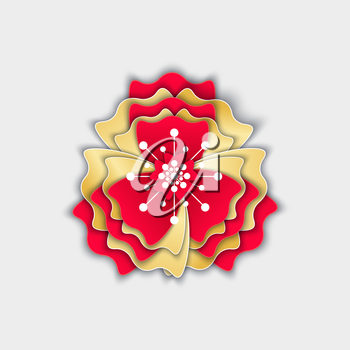 Flower origami flora decoration made of paper vector. Asian culture celebration, flourishing plant with gold and red petals, blooming and blossom