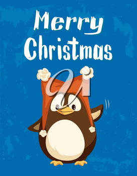 Merry Christmas greeting card, penguin in funny hat waving with wing. Arctic bird in funny headdress with buboes, New Year holiday postcard vector