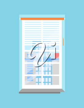 Clean office plastic window with jalousies and windowsill. Spectacular view on skyscrapers from downtown in blue wall cartoon vector illustration.