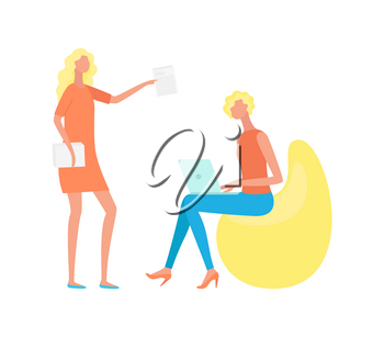 Woman sitting on design seat with laptop, standing manager with papers. Teamwork and wireless gadget, portrait and side view of people, workplace vector