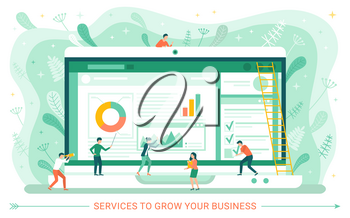 Service to grow your business, monitor of laptop, screen of webpage with charts, workers characters, teamwork cooperation, stairs and leaves vector. Special web applications for business, audit, taxes