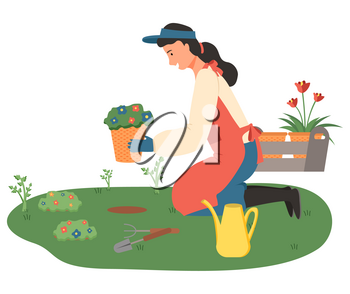 Woman outdoors with flowers vector, lady gardening isolated person with pots and tools for growing flora for home decoration isolated person flat style